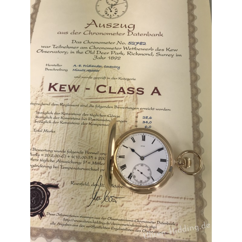 Fridlander Minute-Repeater Kew- Certificate